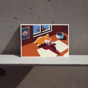 Sleeping Corgiman Postcard